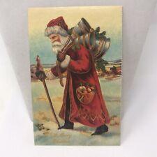 "Vintage Postcard 1988 Santa Claus Bells "" A Merry Christmas "" Holiday"