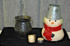 Snowman Collection: Tea Light Burner and Votive Candle Holder with Candles X657