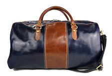 Borsone uomo donna borsa viaggio con manici e tracolla vera pelle blu - marrone