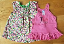 Mini Boden 18-24 month girl floral green pink blouse summer tops smock set pair