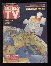NUOVA GUIDA TV MONDADORI 22/1991 PAY TV FILM TELEFILM COMMEDIE CARTONI QUIZ SPOR