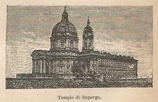 A9655 Torino - Tempio di Superga - Xilografia - Stampa Antica 1906 - Engraving