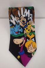 Hanna-Barbera The Flintstones Wilma Fred Cartoon 1993 Black  Novelty Neck Tie