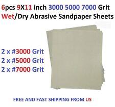 6pcs 9X11 inch 3000 5000 7000 Grit Wet/dry Abrasive Sandpaper Sheets