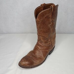 Lucchese Men's Leather Boots Cowboy Pull On Mid Calf Round Toe Size 7.5 B