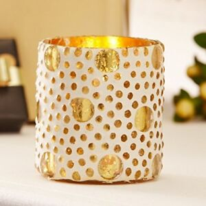 Set of 2 Gold Dot Mosaic Tealight Holders. 7cm