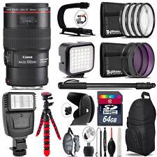 Canon EF 100mm 2.8L IS USM Lens - Video Kit +  Flash - 64GB Accessory Bundle