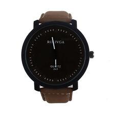 Mode Herren Lässig Sportuhr Uhren Leder Groß Zifferblatt Quarz Armbanduhr NEU