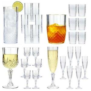 Clear Crystal Effect Vintage Wine Champagne Whisky Plastic Drinking Glasses Cups
