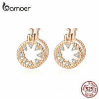BAMOER Rose Earrings S925 Sterling silver stereoscopic circle with CZ For Women