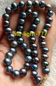 """18"""" AAA+ 9-10MM NATURAL TAHITIAN black blue green PEARL NECKLACE 14K gold"""