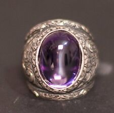 Sterling silver men ring, steel pen craft handmade, cz amethyst stone