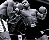 "Mike Tyson Autographed 16"" x 20"" Black & White Punching Photograph"