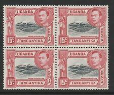 K.U.T. 1938-54 George VI 15c Black & rose-red in block of four SG 137a Mnh.