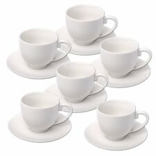 Espresso Cups And Saucers Set Alpina,  Ceramic, White - 12pc set 75ml