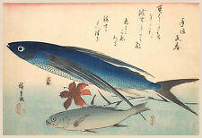 Japanese Art: Hiroshige Fish: Tobiuo and Ishimochi Fish - Fine Art Print