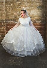 1950s original true vintage white wedding dress + veilUK8/10
