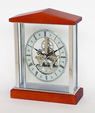 SQUELETTE Horloge Mantel en Cerise et chrome avec TRANSPARENT body.20085