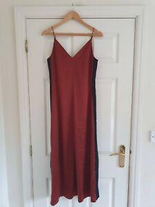 HUSH Ladies V-Neck NAYA Satin Slip Dress In Copper/Black Size UK 6 BNWT!