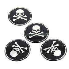 4pcs Crossbones Emblem Car Wheel Center Hub Caps Skull Badge Sticker Decal 65mm