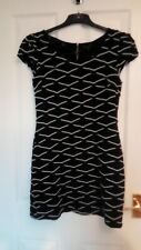 Smart Black and White Size Medium Tunic Dress By QED London