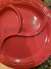 Longaberger Pottery Woven Tradition Paprika Maroon Red Divided Dinner Plate