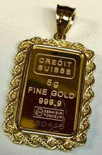 24k Fine Gold Credit Suisse 5gr Bullion Ingot 14k Framed Charm Rope Pendant