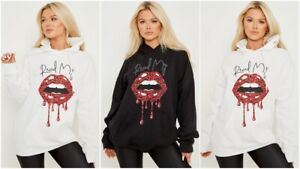 Womens Graphic Lips Fleece Oversized Hooded Ladies Sweatshirt Hoodie Jumper Top
