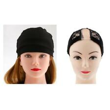 2pcs Black Spandex Dome Cap for Making Wigs Nylon Snood Stretchy Wig Cap