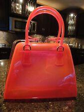 Pink Orange Translucent Retro Purse Shoulder Handbag w/Gold Hardware NEW w/o Tag