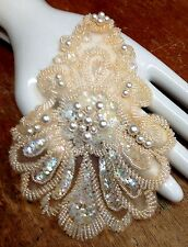 "APPLIQUE Decco SWIRLS XL Glass BEADS Pearls1pc Natural Peach Sequins 5x7.5"""
