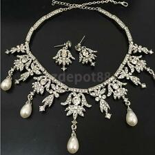 Bridal Bride Jewelry Pearl Crystal Angel Pendent Necklace Earring Set Sliver