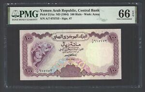 Yemen Arab Republic , 100 Rials ND(1984) P21Aa Uncirculated Grade 66
