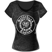 Rockoff Trade Women's England Seal Acid Wash T-shirt, Grey, X-large - Motorhead