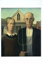 American Gothic by Grant Wood, US Classic Art Painting Card --- Modern Postcard