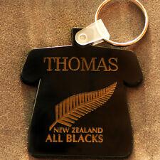 superbe porte clefs bakélite noir personnalisé rugby all blacks +prenom