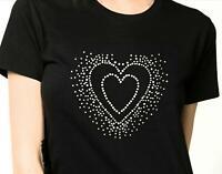 Women's Heart Design Bling Rhinestones T-Shirt