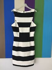 Portmans Womens Dress 8 Black White Striped mini Sleeveless Soft stretch Sheath