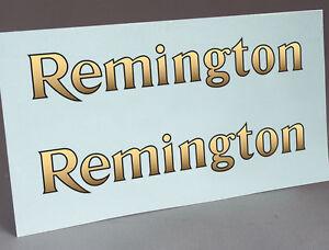2 WATER SLIDE DECALS OF REMINGTON GOLD and BLACK LOGO FOR TYPEWRITER RESTORATION