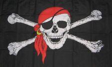 Skull & Crossbones Red Bandana Pirates Sleeved Flag 45 x 30cm Kid's Fun Party