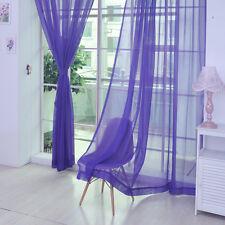 2 X Valances Tulle Voile Door Window Curtain Drape Panel Sheer Scarf Divider Purple 1 PC