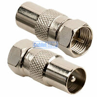2 x MALE COAX PLUG to F TYPE MALE PLUG TV Aerial Sky Connector Adapter