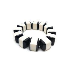 Vintage Lucite Bracelet Stretch Elastic Black White Square Beads Oreo BRB1088