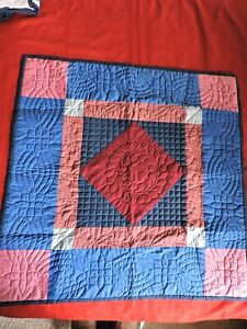 Mennonite Quilted Center Diamond Pattern  Wall Hanging