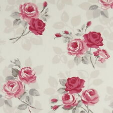 Clarke and Clarke - Nancy - Rose - Large Fabric Remnant - Price Per Metre