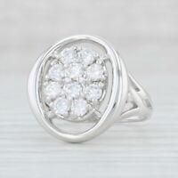 1ctw Diamond Cluster Ring 14k White Gold Size 7 Women's Cocktail