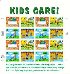 """USA, postfrischer Kleinbogen von 1995, """"Kids Care for Environment"""""""