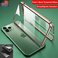 iPhone 12 11 Pro XS Max XR 7 8 Plus Metal Magnetic 360 Tempered Glass Case Cover