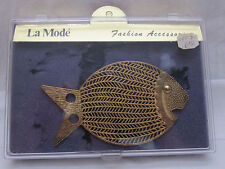 Vintage Belt Buckle La Mode Fashion Accessory Gold Tone Fish In Original Case