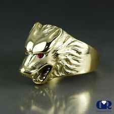 Men's Ruby 14K Solid Yellow Gold Wolf Pinky Ring